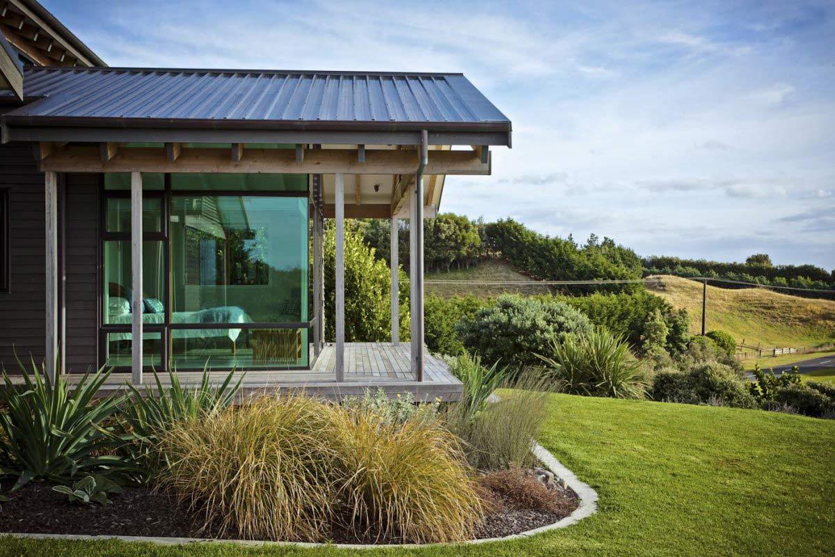 Bedroom, Terrace, Elegant Contemporary Home in Te Horo, New Zealand