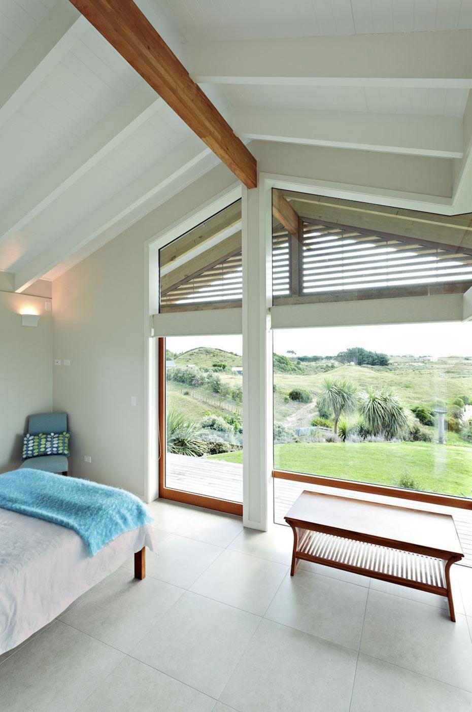 Bedroom Views, Elegant Contemporary Home in Te Horo, New Zealand