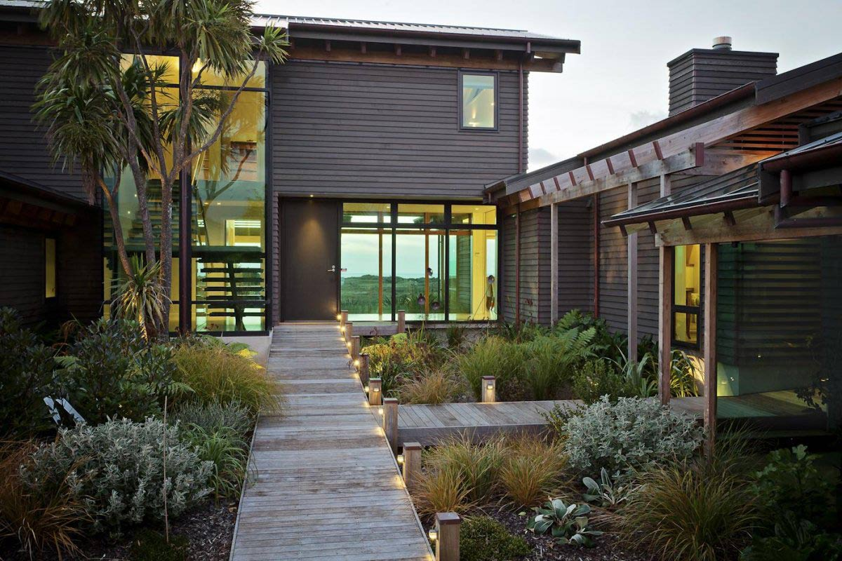Entrance, Pathway, Lighting, Elegant Contemporary Home in Te Horo, New Zealand