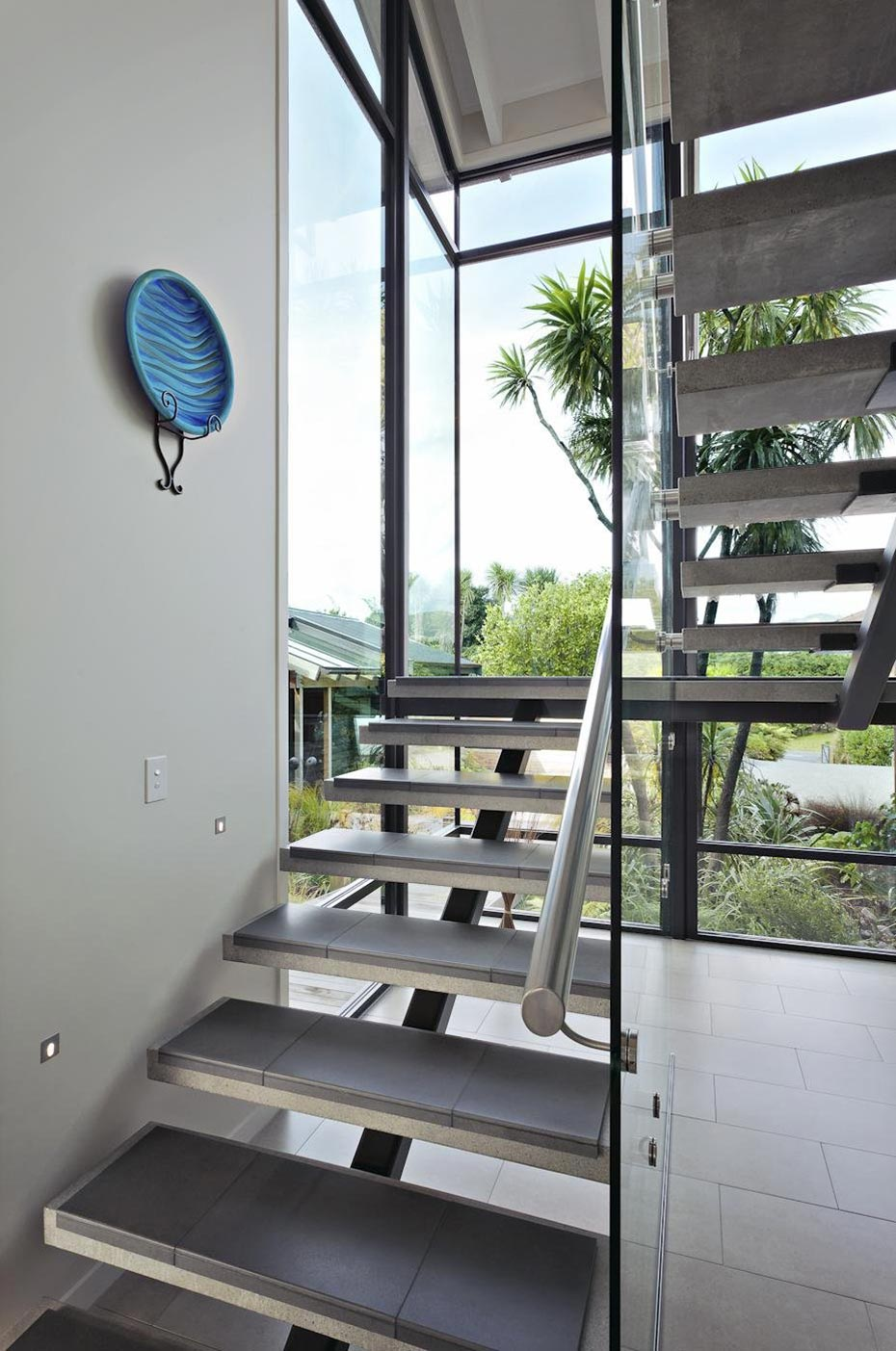 Stairs, Elegant Contemporary Home in Te Horo, New Zealand