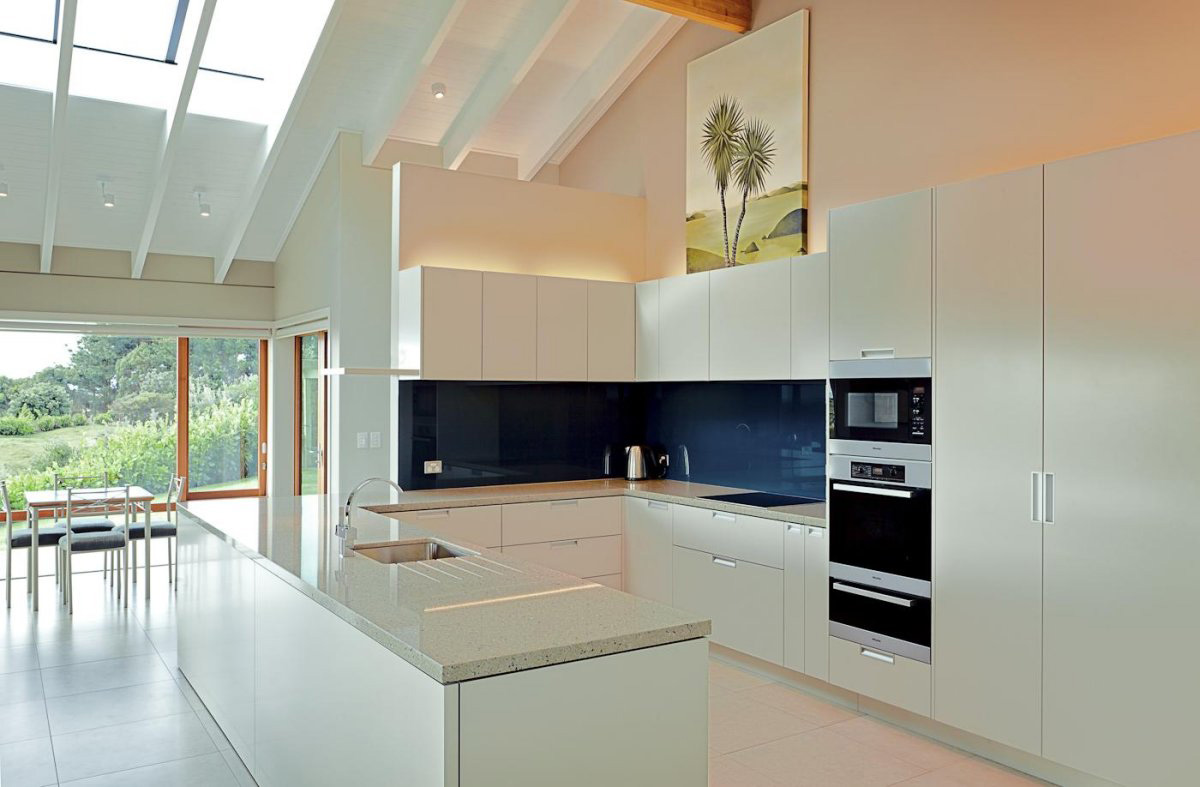 White Kitchen Island, Elegant Contemporary Home in Te Horo, New Zealand