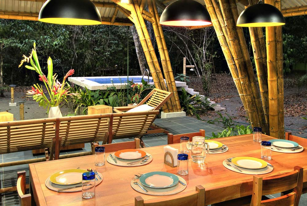 Bamboo Dining Space, Unique Beachfront Vacation Home in Costa Rica