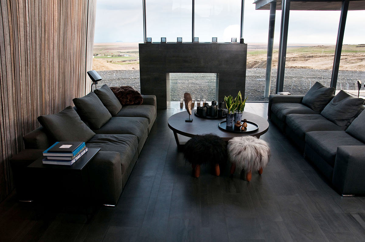 Grey Sofas, Coffee Table, Views, Vacation Home in Iceland Inspired by Nature