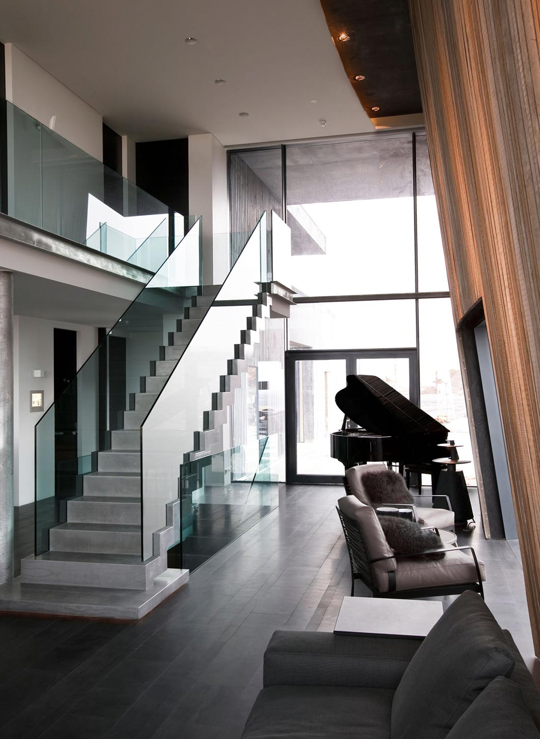 Living Space, Glass Stairs, Vacation Home in Iceland Inspired by Nature