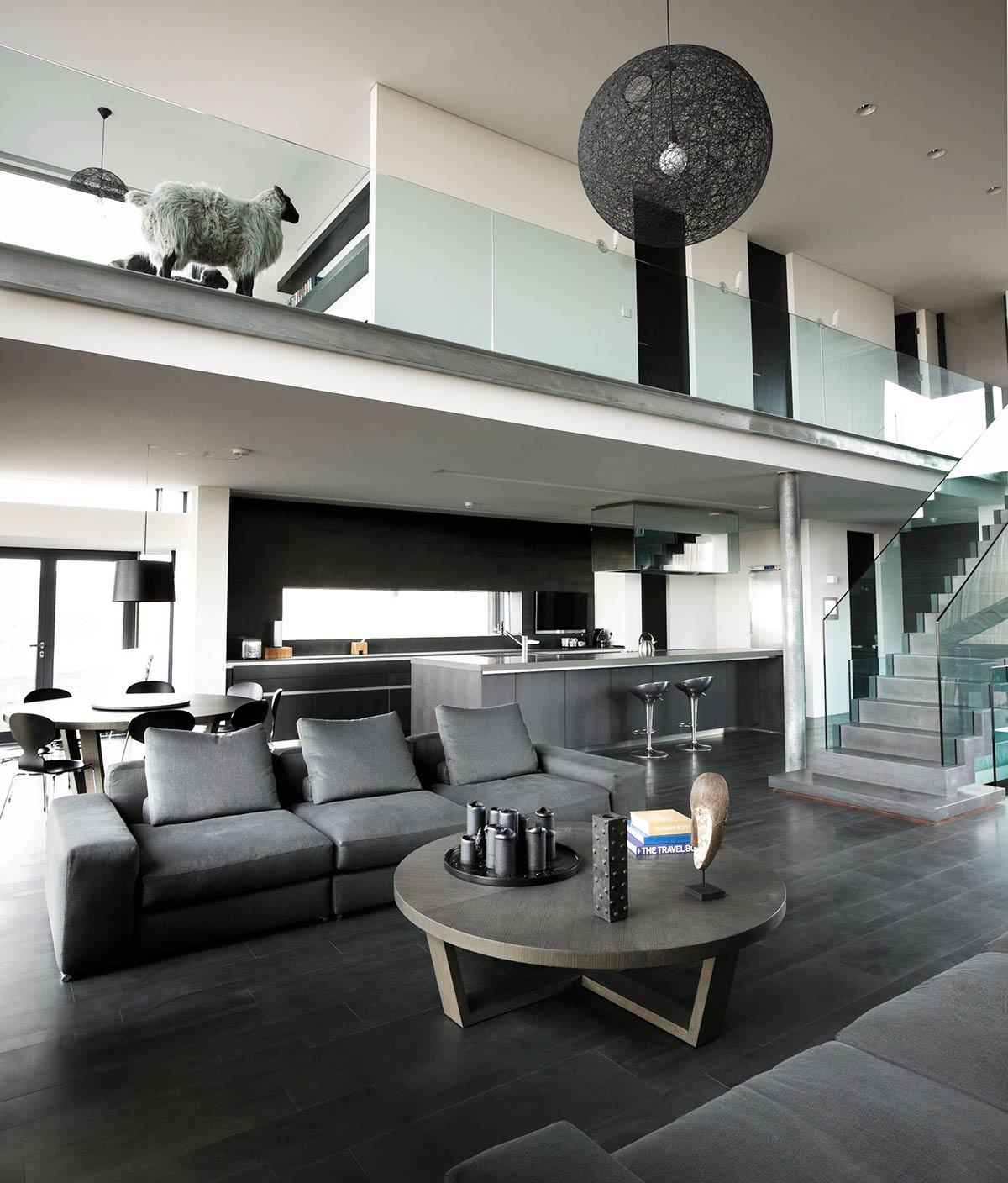 Living Space, Kitchen, Grey Sofas, Vacation Home in Iceland Inspired by Nature