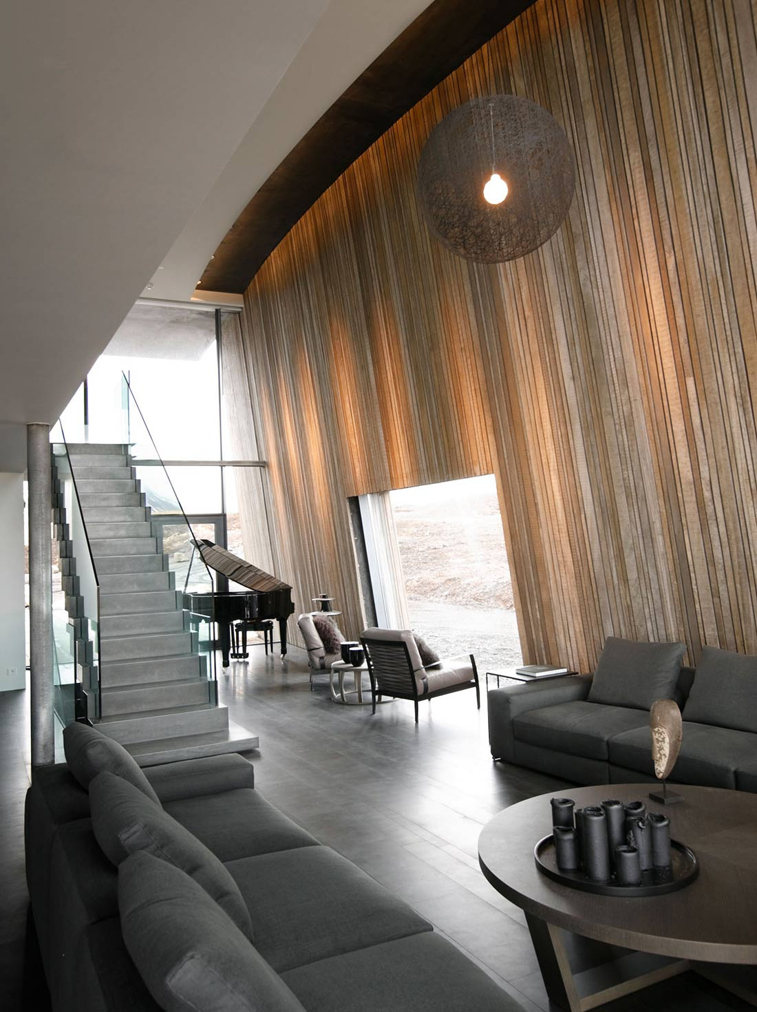 Stairs, Living Space, Vacation Home in Iceland Inspired by Nature