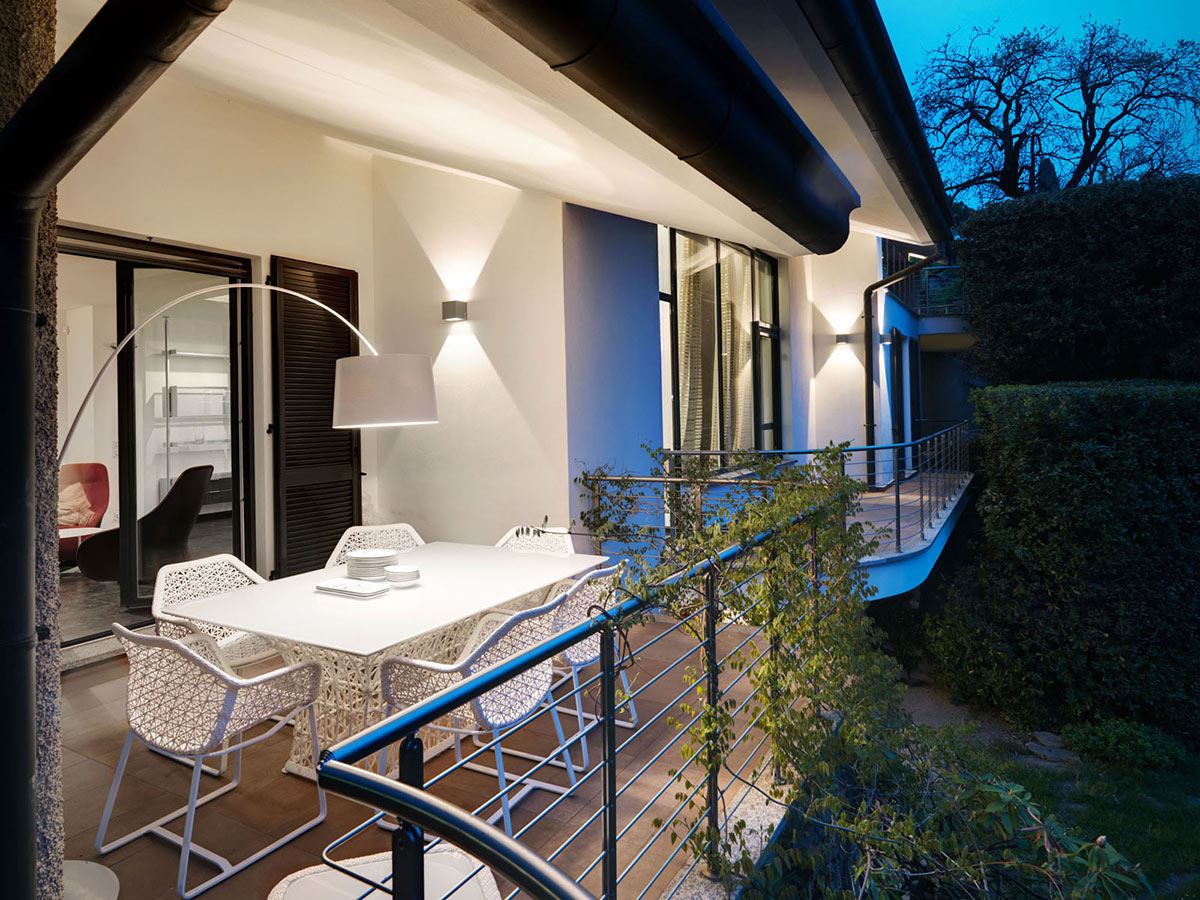 Balcony, Outdoor Dining, Lighting, Villa On Lake Como By Studio Marco Piva