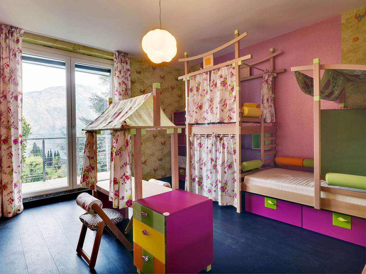 Colourful Childrens Bedroom, Villa on Lake Como by Studio Marco Piva