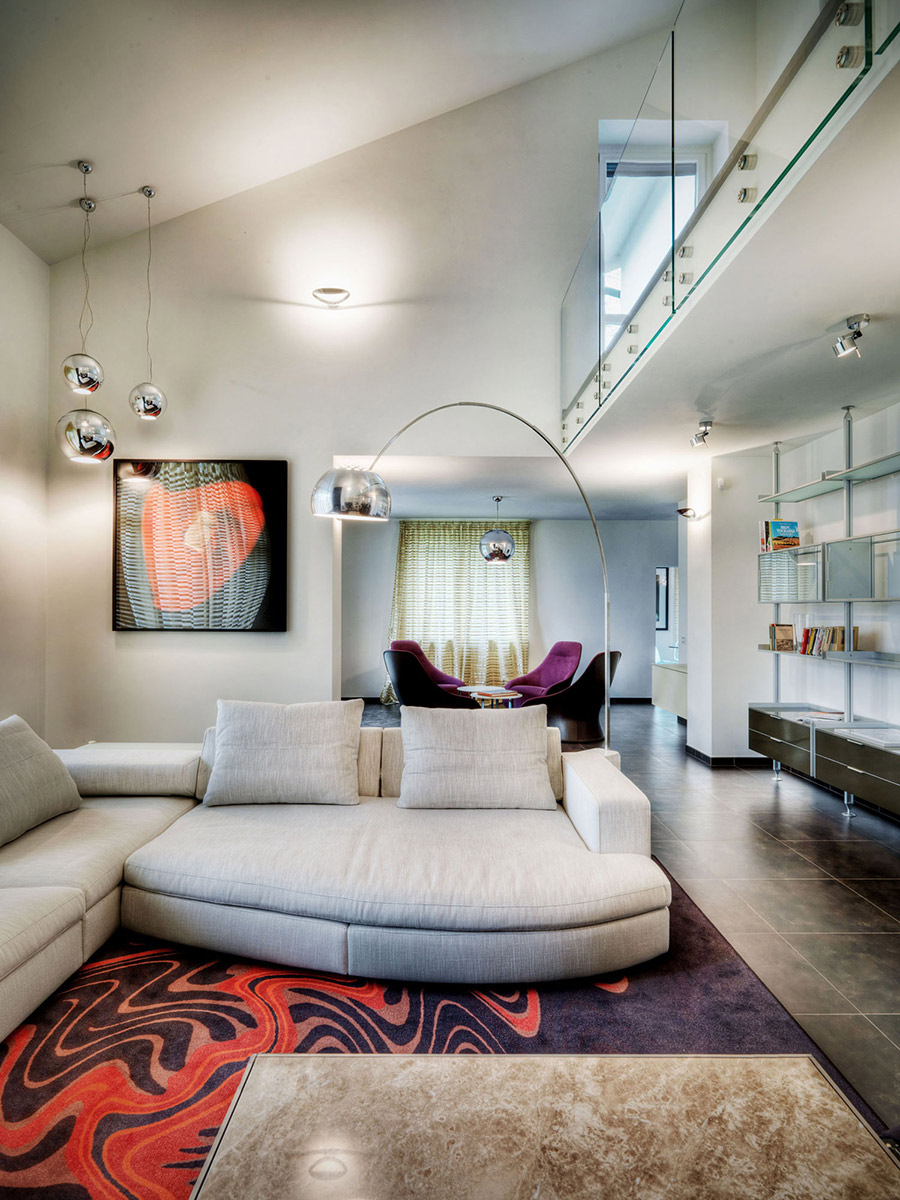 Grey Sofas, Modern Lighting, Rug, Villa on Lake Como by Studio Marco Piva