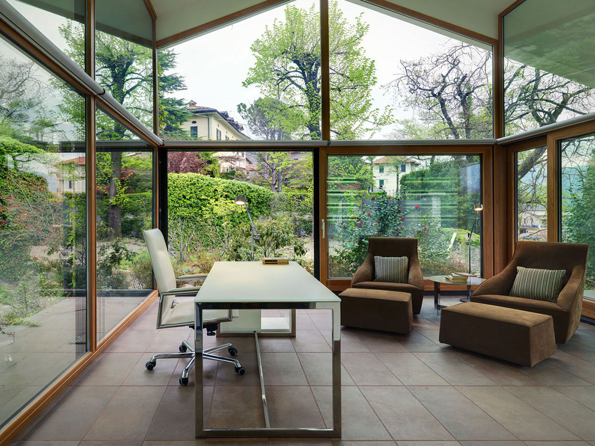 Home Office, Glass Walls, Villa on Lake Como by Studio Marco Piva