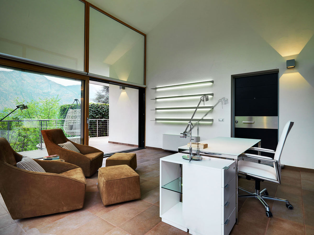 Home Office, White Desk, Lighting, Villa on Lake Como by Studio Marco Piva