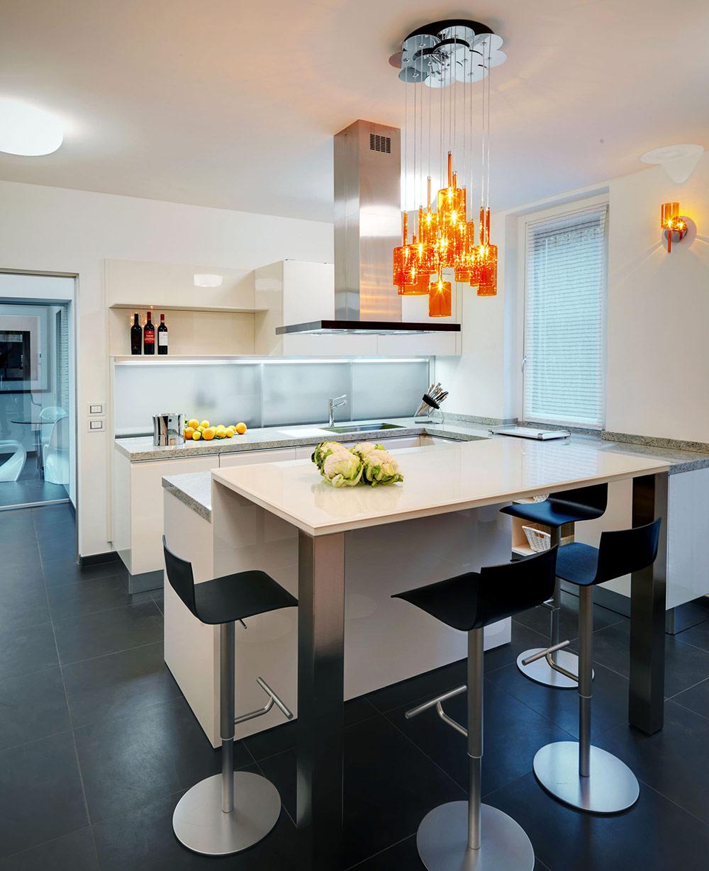 Kitchen, Orange Lighting, Villa on Lake Como by Studio Marco Piva
