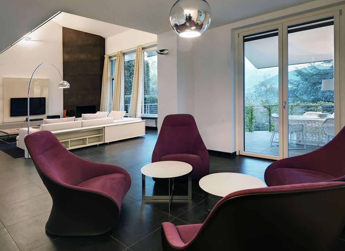 Purple Chairs, Villa on Lake Como by Studio Marco Piva