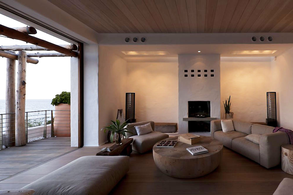 Living Room, Fireplace, Sofas, Beautiful Waterfront Home in Coogee, Australia