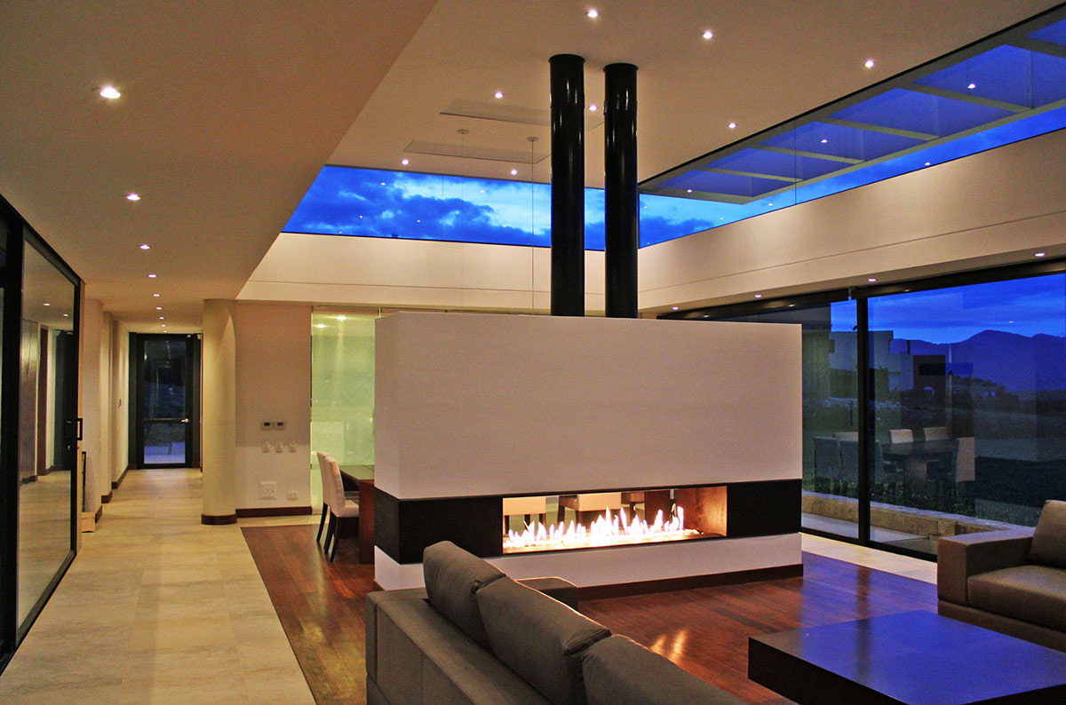 Modern Fireplace, AR House in La Calera, Colombia