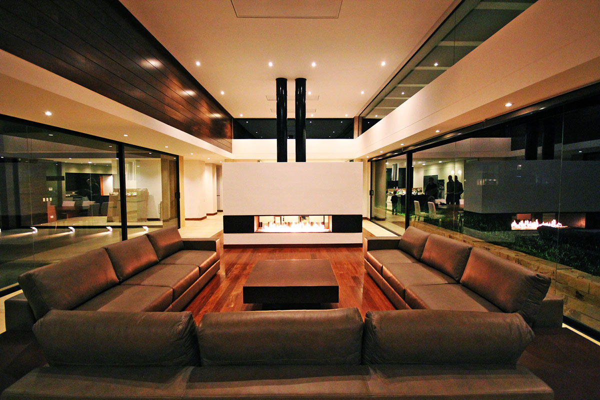Sofas, Coffee Table, Modern Fireplace, AR House in La Calera, Colombia