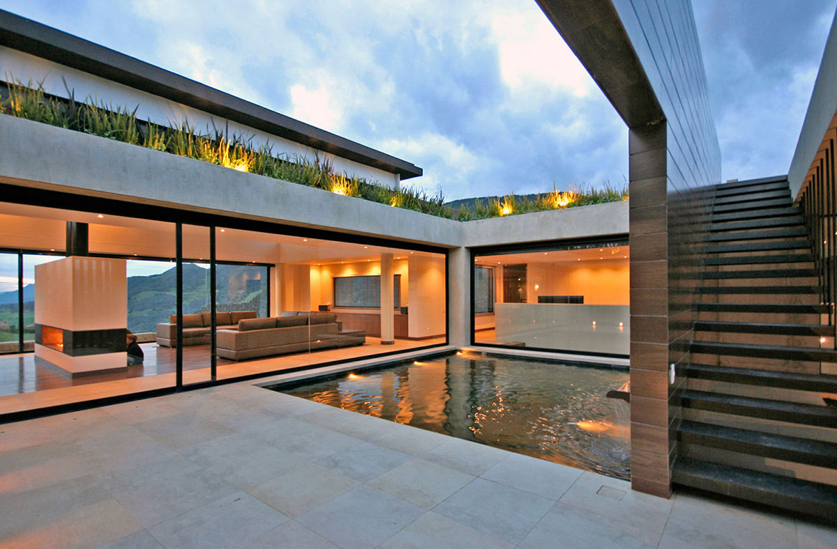 Courtyard, Water Feature, AR House in La Calera, Colombia
