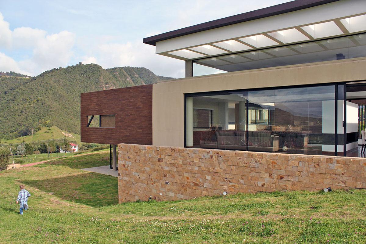 Garden, Stone Wall, AR House in La Calera, Colombia