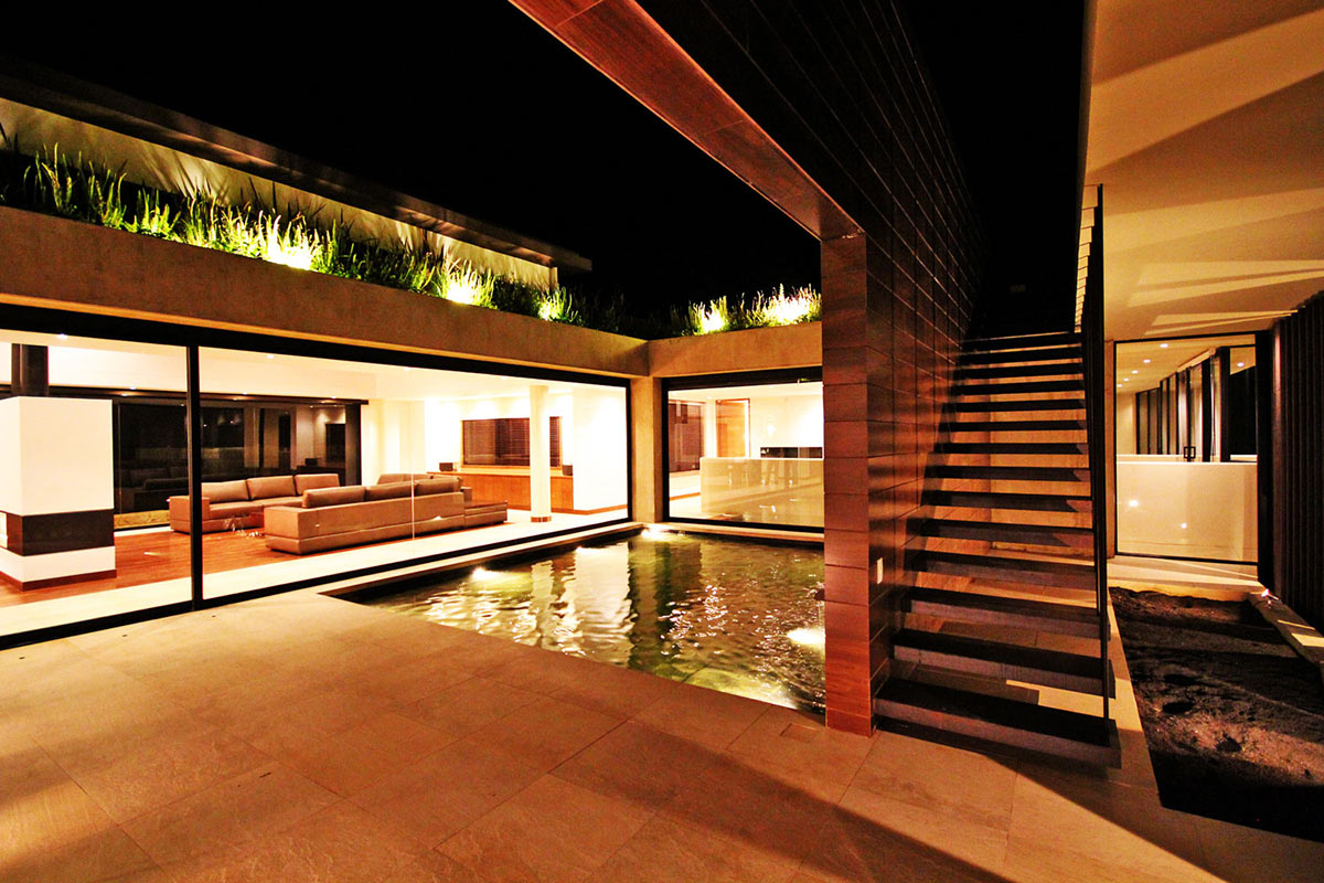 Water Feature, Stairs, AR House in La Calera, Colombia