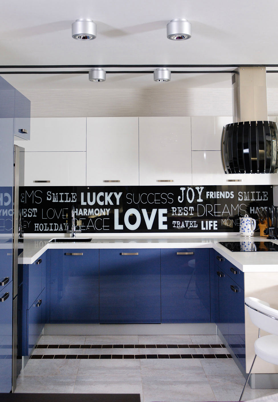 Kitchen, White Counter, Blue Cupboards, Apartment Renovation in Odessa, Ukraine