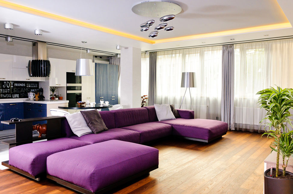 Purple Sofa, Open Plan Living, Apartment Renovation in Odessa, Ukraine