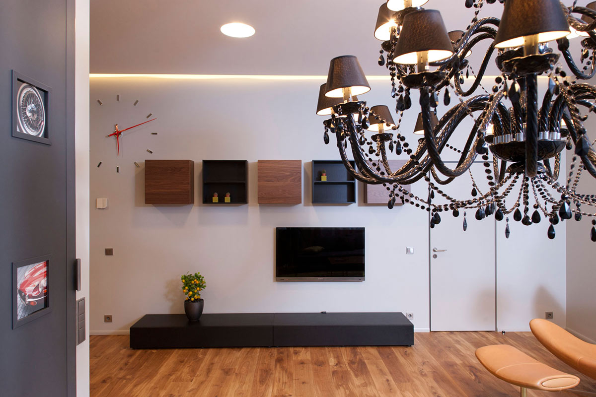 Chandelier, Studio Apartment in Riga by Eric Carlson