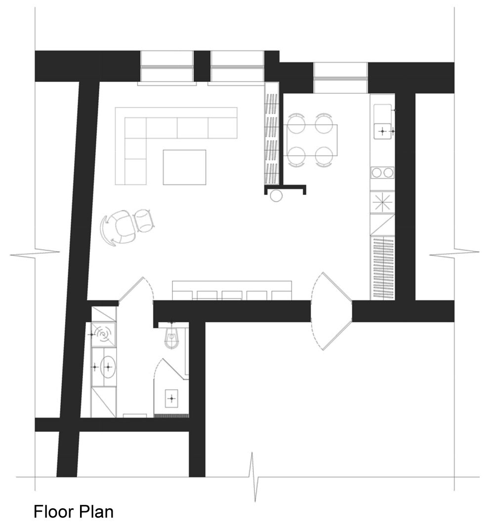 Floor plan studio apartment in riga by eric carlson Efficiency apartment floor plan