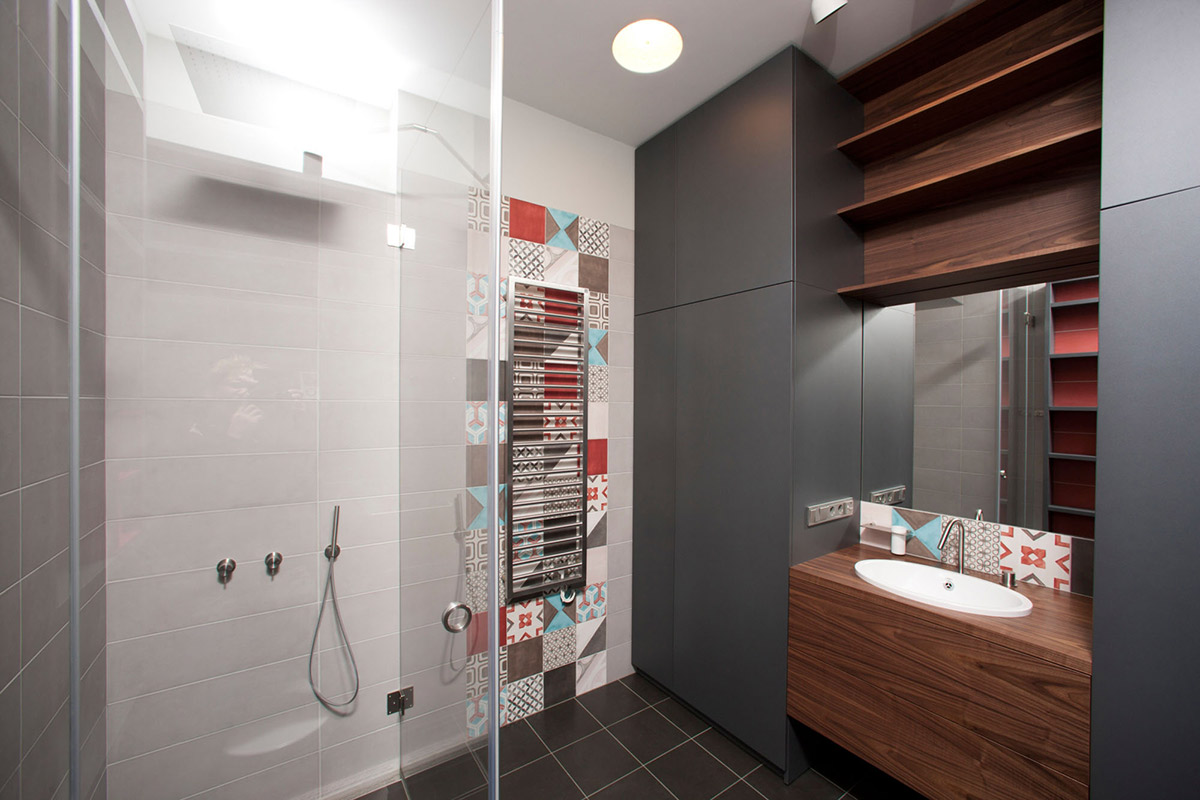 Bathroom, Shower & Sink, Studio Apartment in Riga by Eric Carlson