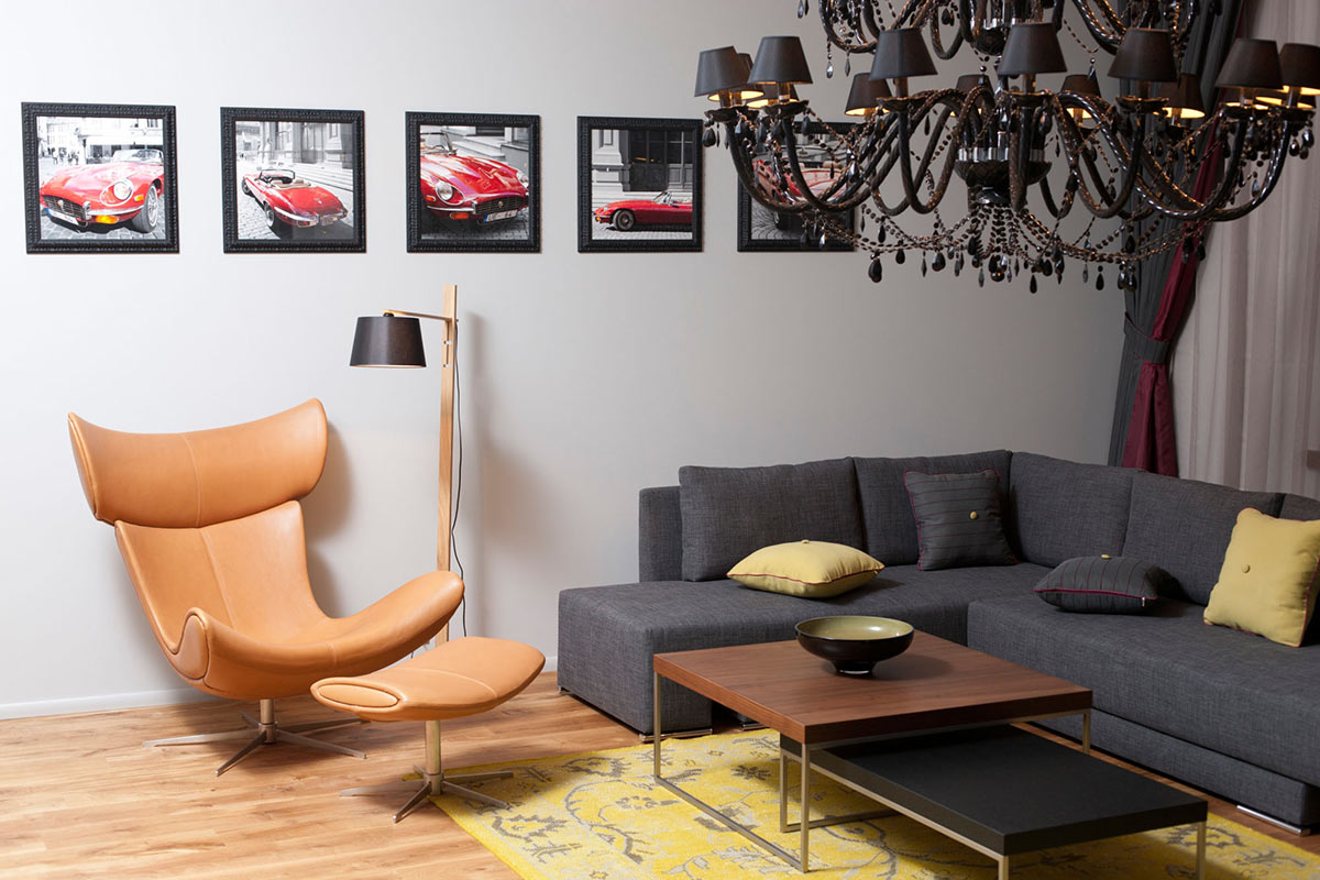 Coffee Table, Chair & Sofa, Studio Apartment in Riga by Eric Carlson