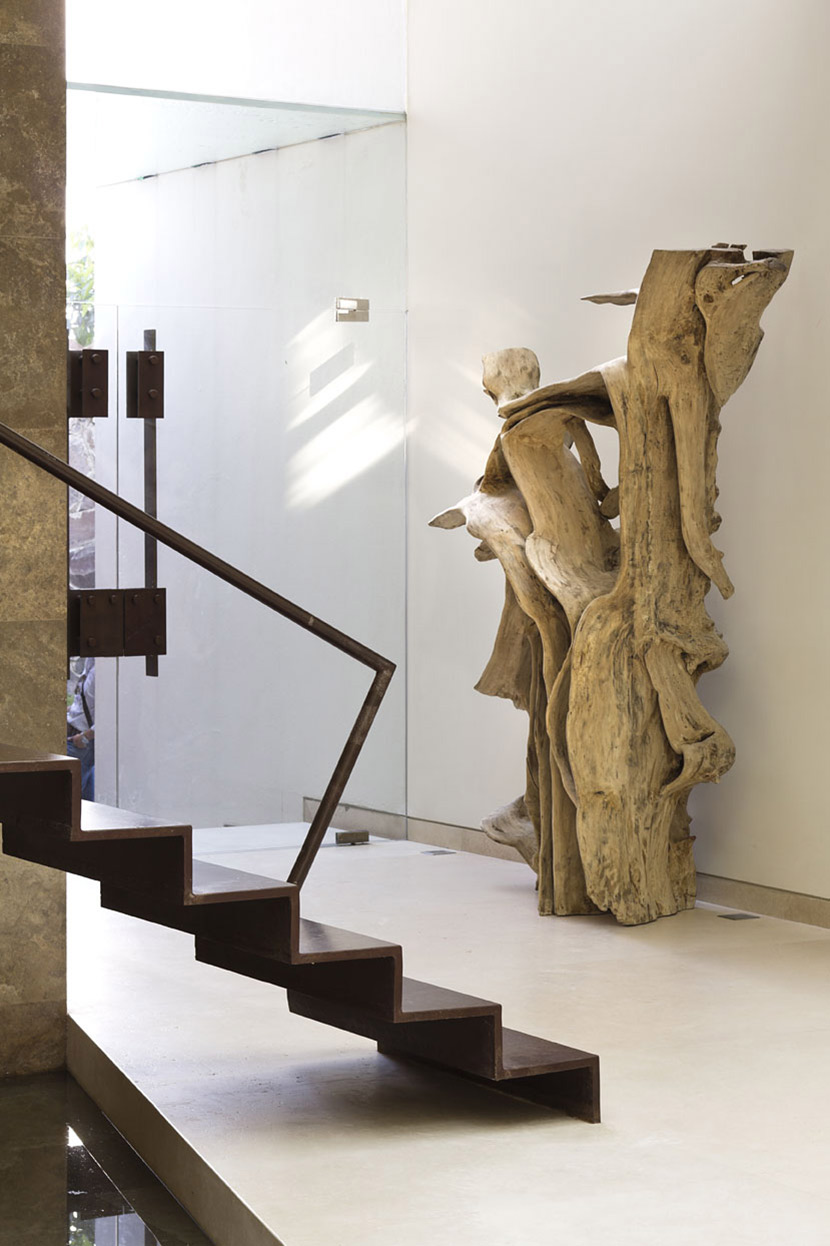 Glass Doors, Wooden Sculpture, Stairs, Modern Family Home in Zapopan, Mexico