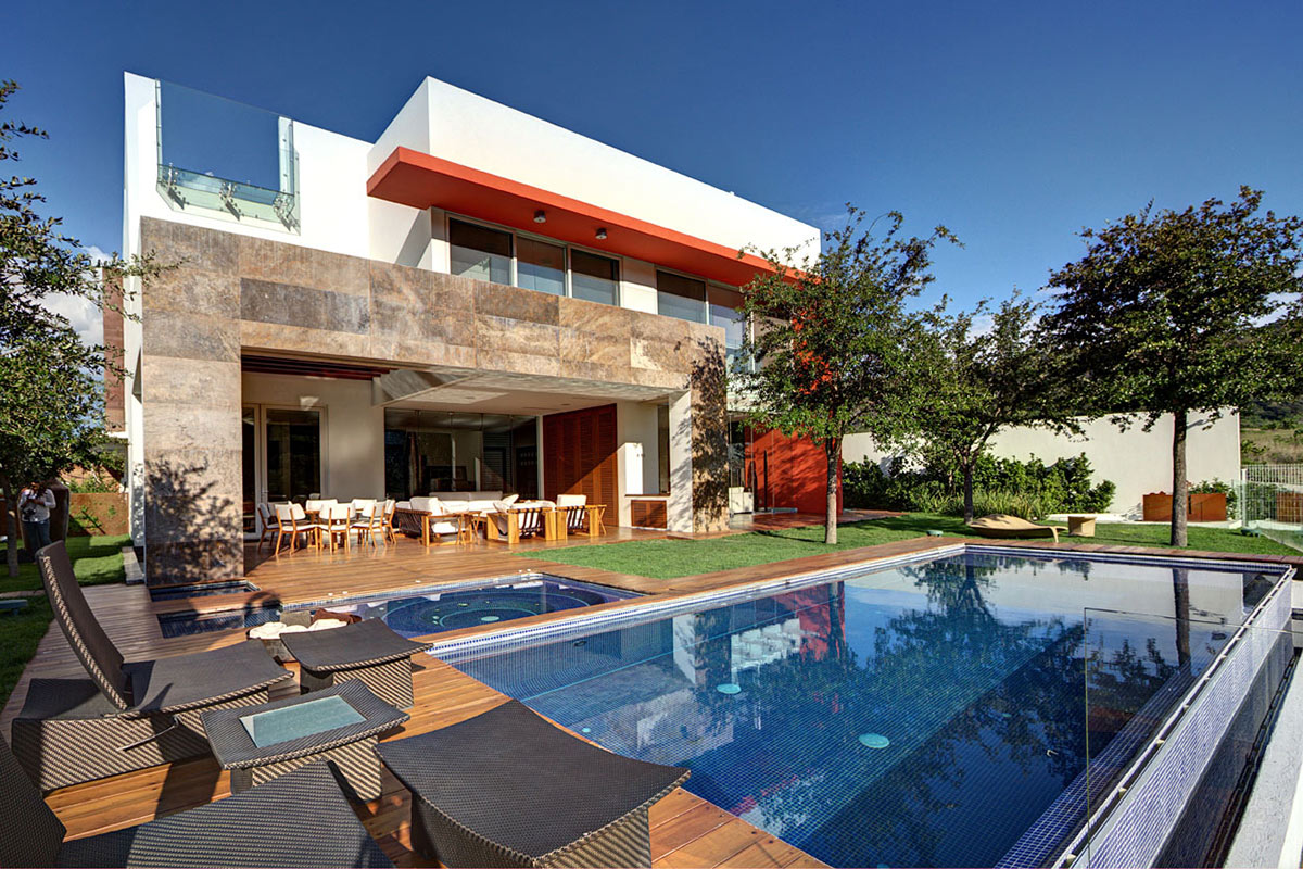 Pool, Decking, Outdoor Living, Modern Family Home in Zapopan, Mexico