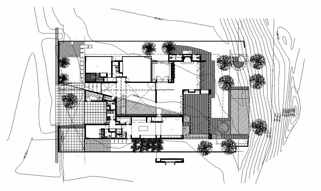 Site Plan, Modern Family Home in Zapopan, Mexico