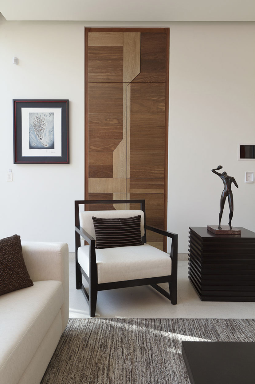 Black & White Chair, Wooden Cupboard Doors, Modern Family Home in Zapopan, Mexico