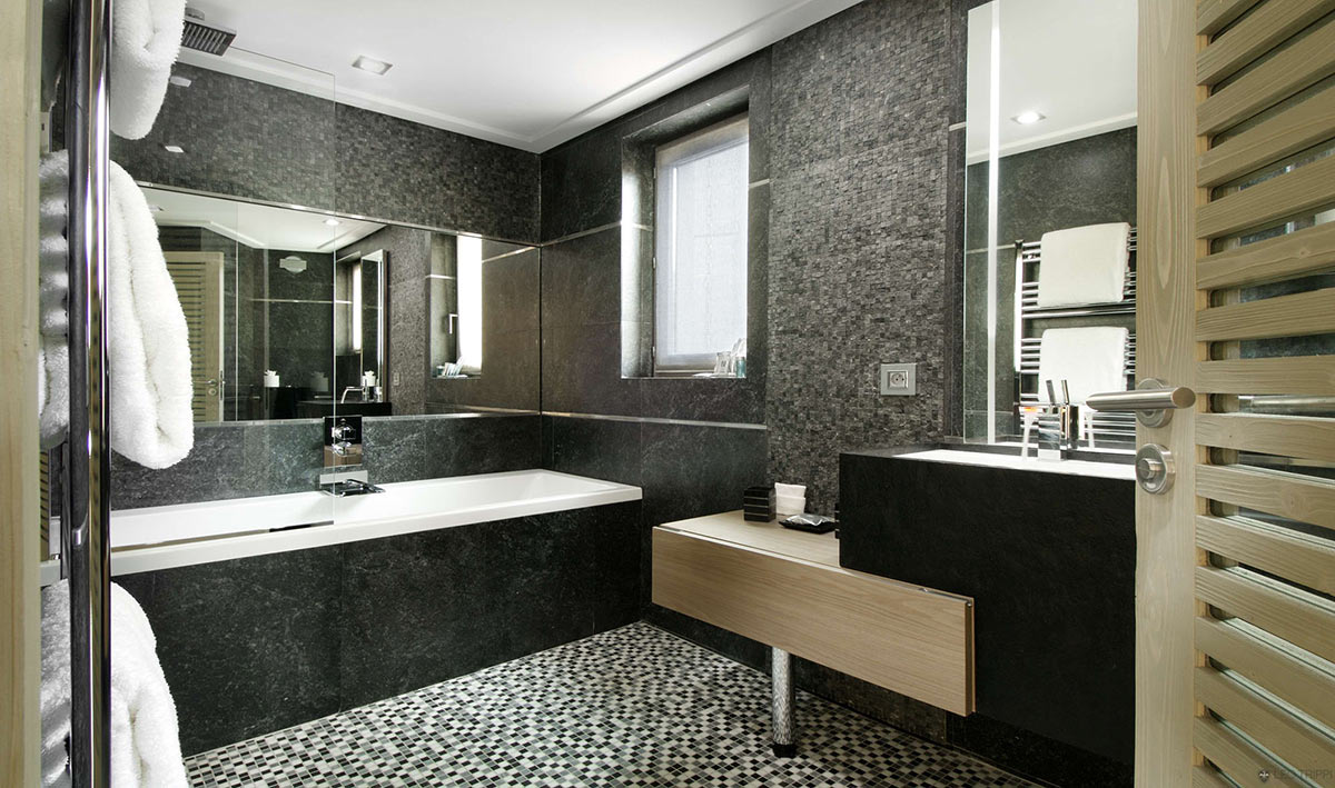 Bathroom, Dark Tiles, Chalet Black Pearl in Val d'Isère