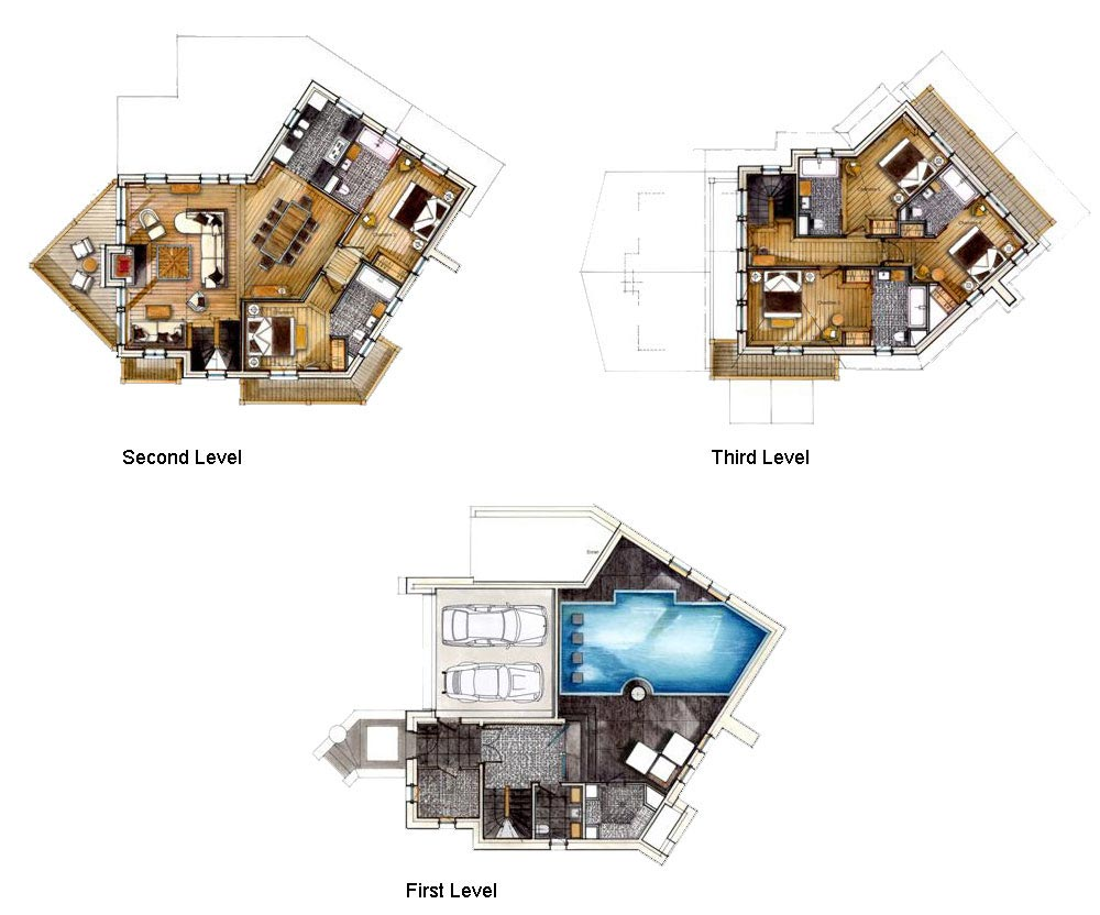 Floor Plans, Chalet Black Pearl in Val d'Isère