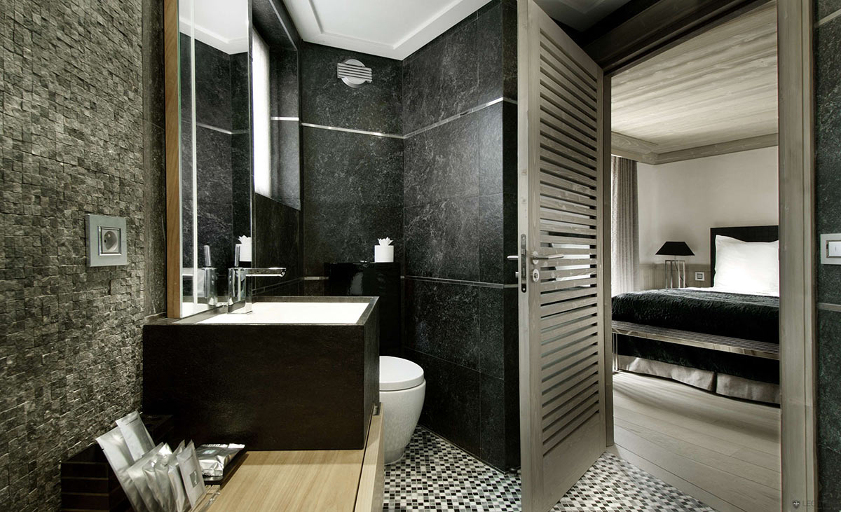 Bathroom, Stone Sink, Marble Tiles, Chalet Black Pearl in Val d'Isère