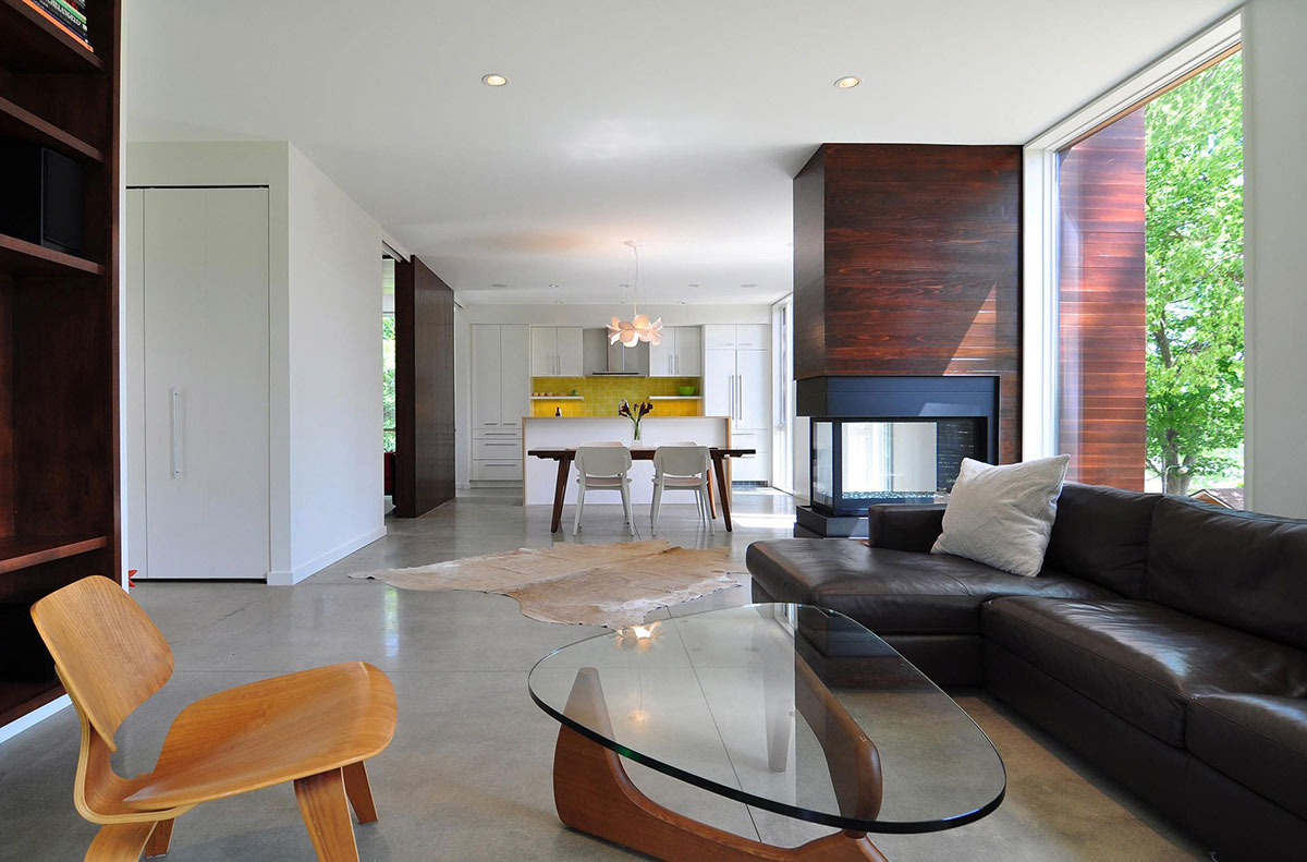 Brown Leather Sofa, Glass Coffee Table, Compact Contemporary Home in Madison