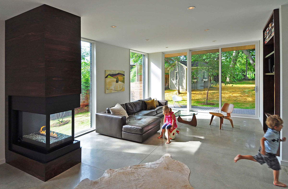 Contemporary Fireplace, Living Space, Compact Contemporary Home in Madison