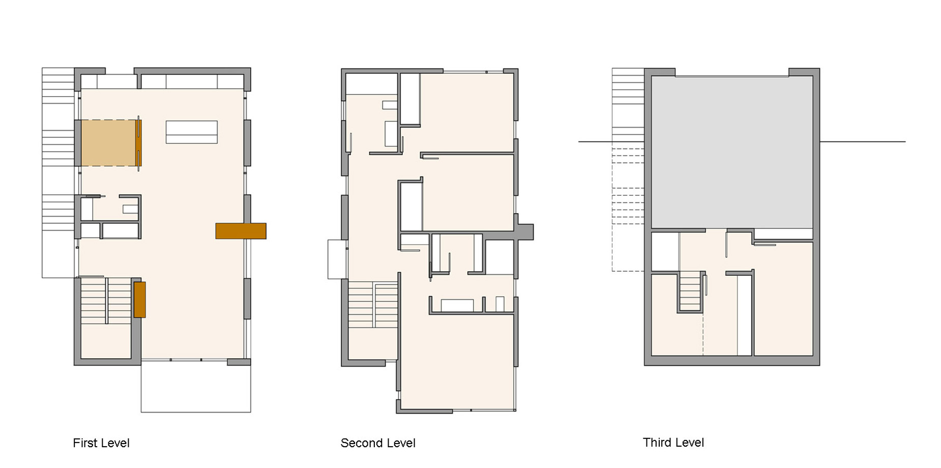 First, Second & Third Level Plans, Compact Contemporary Home in Madison