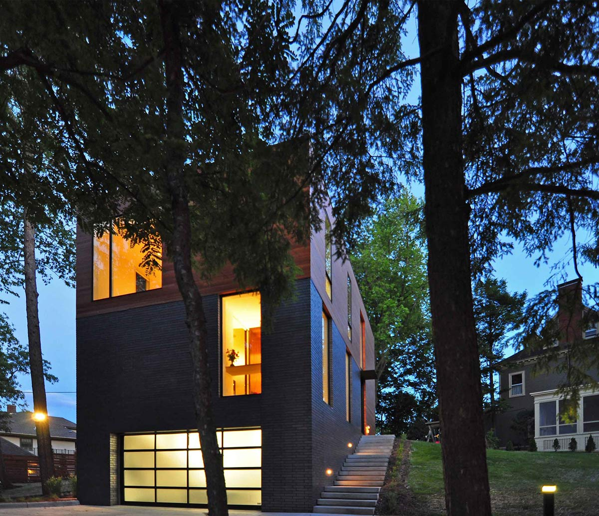 Garage, Garden Stairs, Compact Contemporary Home in Madison