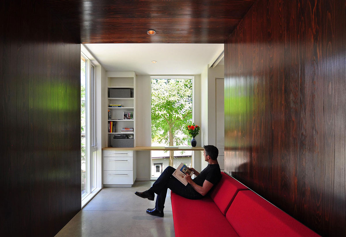 Red Sofa, Home Office, Compact Contemporary Home in Madison