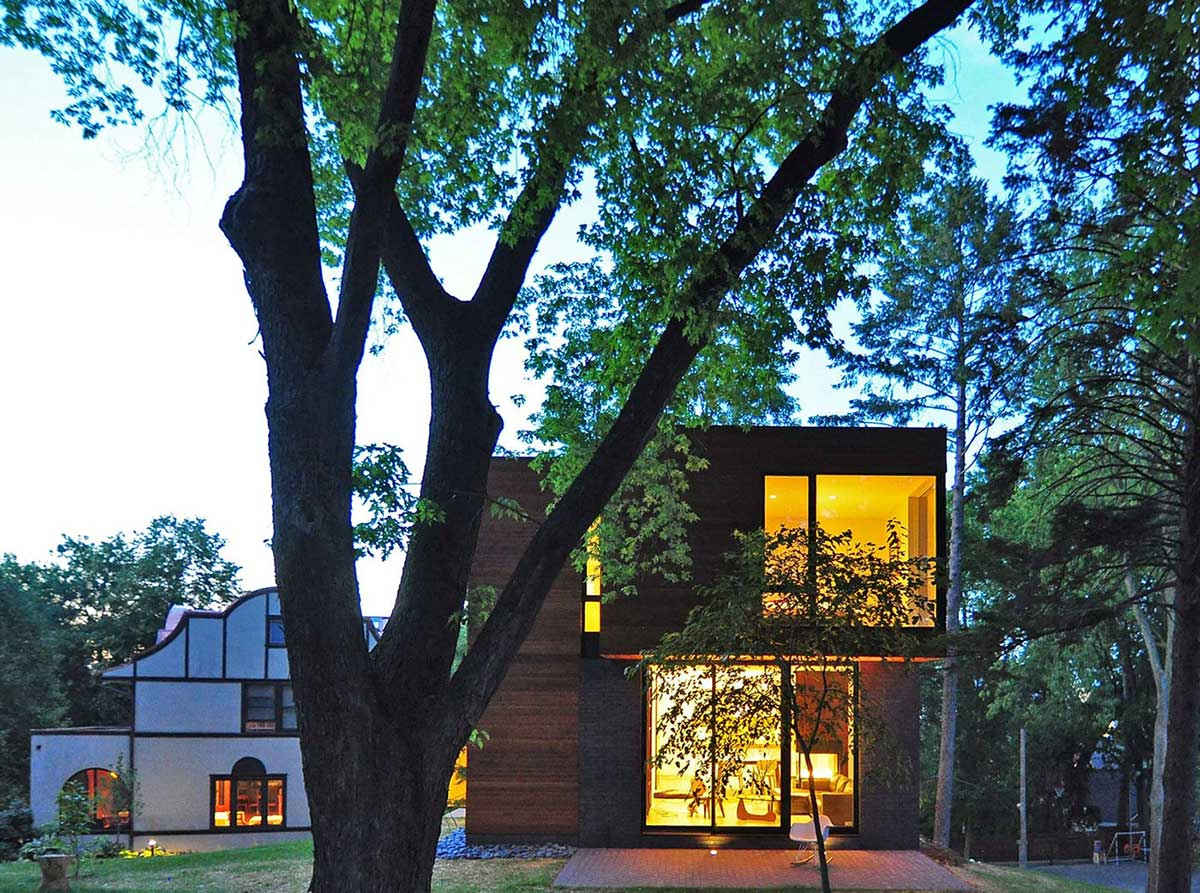 Garden, Lighting, Compact Contemporary Home in Madison