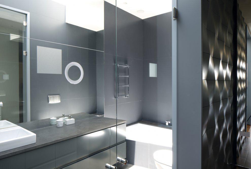 Bathroom, Glass Doors, Unique Concrete House in Israel