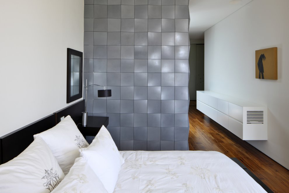 Bedroom, Textured Wall, Unique Concrete House in Israel