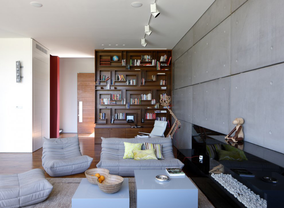 Contemporary Fireplace, Unique Concrete House in Israel
