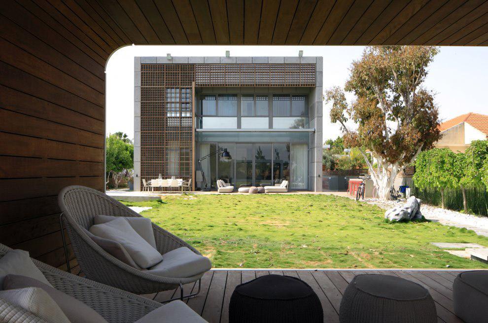 Garden, Outdoor Living, Unique Concrete House in Israel