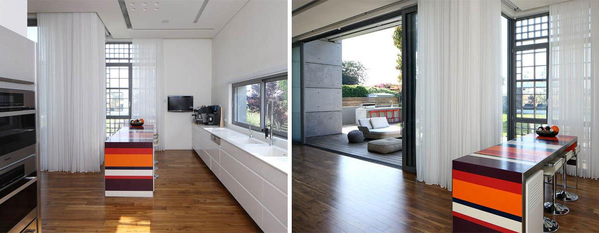 Kitchen, Unique Concrete House in Israel