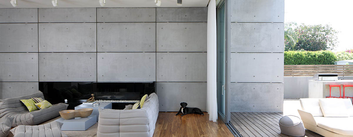 Living Space, Patio Doors, Unique Concrete House in Israel