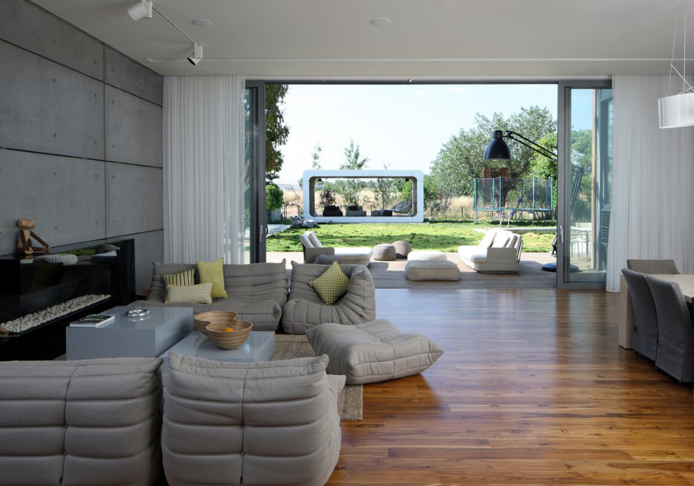 Living Space, Wood Flooring, Unique Concrete House in Israel