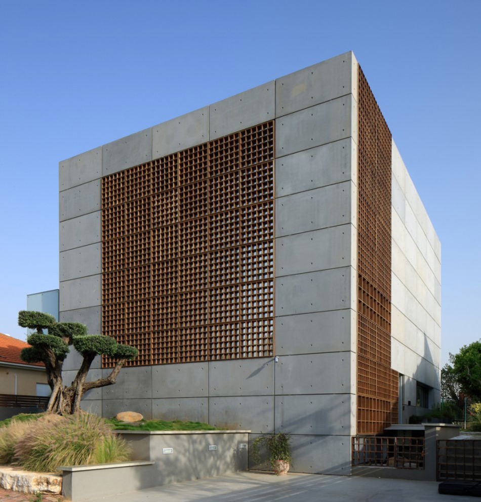 Unique concrete house in israel for Concrete block house